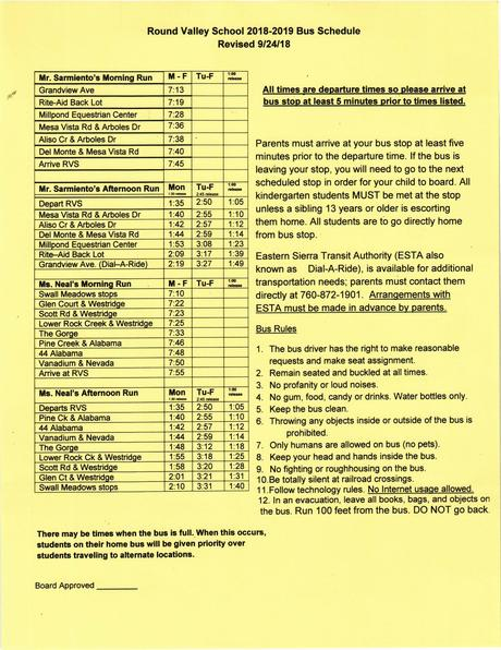 Bus Schedule 2018-2019, Revised 9-24-18